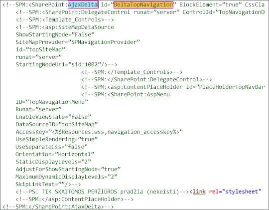 DeltaTopNavigation kodo, skirto panaikinti ekrano nuotrauka