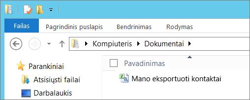 Įveskite eksportuojamo failo vardą