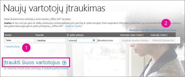 """Vartotojų įtraukimas į """"Office 365"""" nuomotoją"""