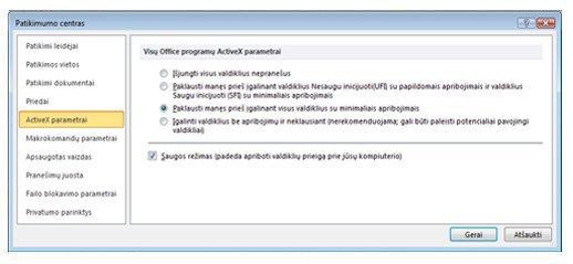 "Patikimumo centro sritis ""ActiveX"" parametrai"