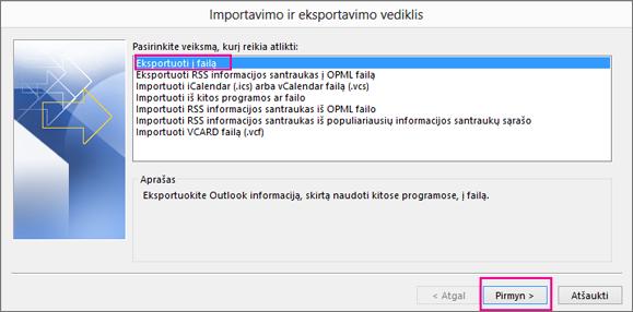 Spustelėkite Eksportuoti į failą.