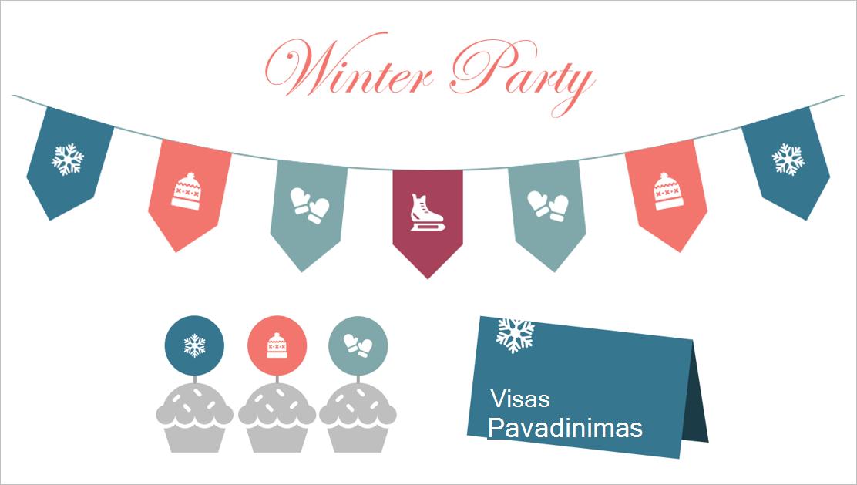 Žiemos šalių spausdinami šablono elementai