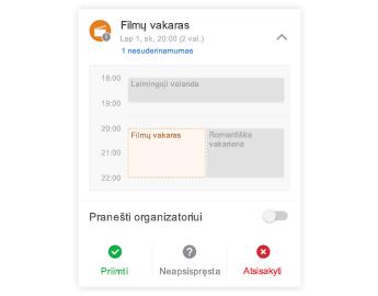 Kvietimas į susitikimą su mini kalendoriumi viršuje, komentarų sritimi ir atsakymo mygtukais apačioje