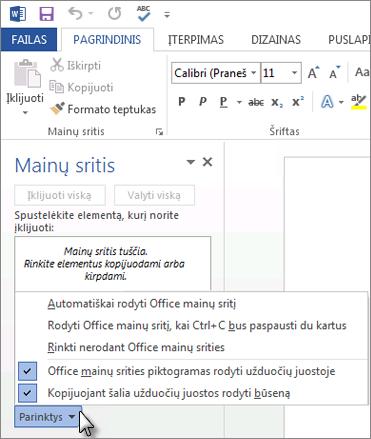 """Dalykai, kuriuos galite daryti """"Office"""" mainų srities užduočių srityje"""