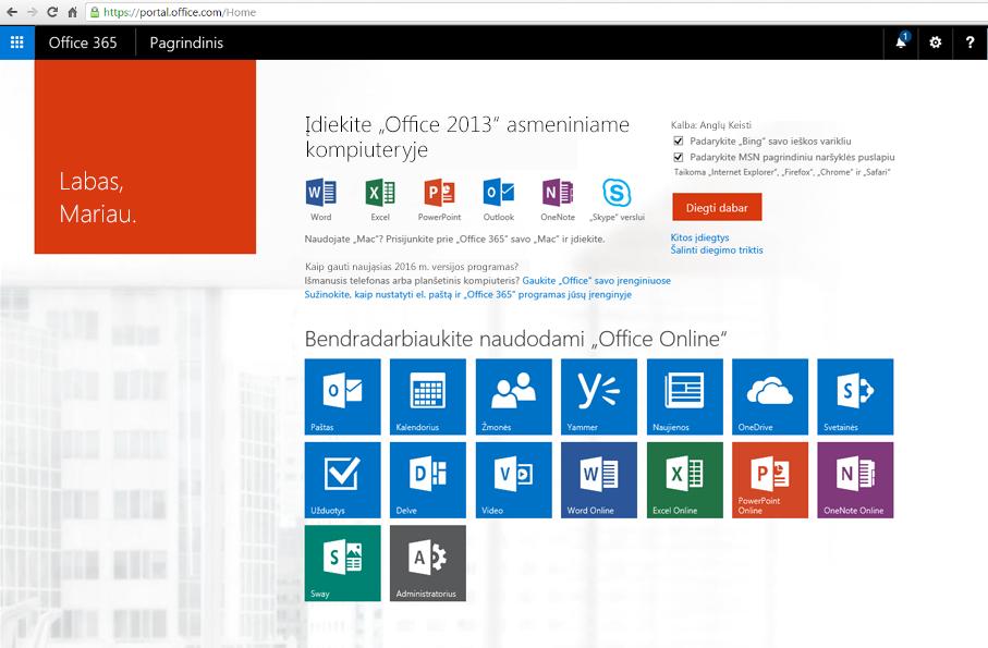 """Ekrano nuotrauka, kaip įdiegti """"Office 365"""" kompiuteryje."""