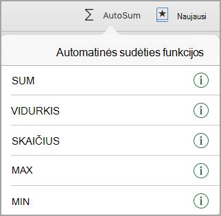 Automatinės sudėties funkcijų meniu