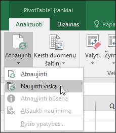 """Atnaujinti visi """"PivotTable"""" iš juostelės > """"PivotTable"""" Įrankiai > analizuoti > duomenis, spustelėkite rodyklę, esančią dalyje mygtuką atnaujinti ir pasirinkite atnaujinti viską."""