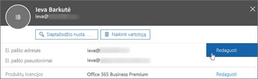 Šalia pagrindinio el. pašto adreso pasirinkite Redaguoti.