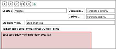 """""""Office"""" taikomosios programos redagavimas programoje """"Access"""""""