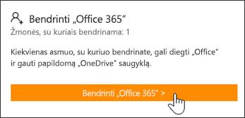 """Puslapio """"Mano paskyra"""" dalis Bendrinti """"Office 365"""", prieš tai, kai prenumerata buvo bendrinama su visais."""