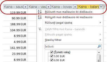 Automatiniai filtrai rodomi Excel lentelės stulpelio antraštėse