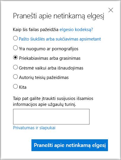 """""""OneDrive"""" lauko ataskaitos piktnaudžiavimo dialogo lango ekrano nuotrauka"""
