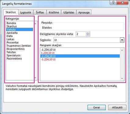 Dialogo langas Langelių formatavimas