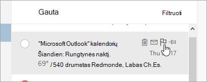 Žymėjimo vėliavėle parinkties pranešimų sąraše ekrano kopija