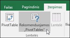 """Eikite į Įterpimas > Rekomenduojamos """"PivotTable"""", kad """"Excel"""" sukurtų """"PivotTable"""""""