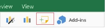 """Komentaro įtraukimas programoje """"Excel"""", skirta """"iPad"""""""