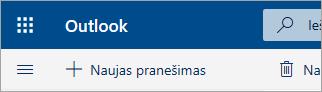 """""""Outlook.com"""" beta versijos pašto dėžutės viršutiniojo kairio kampo ekrano nuotrauka"""