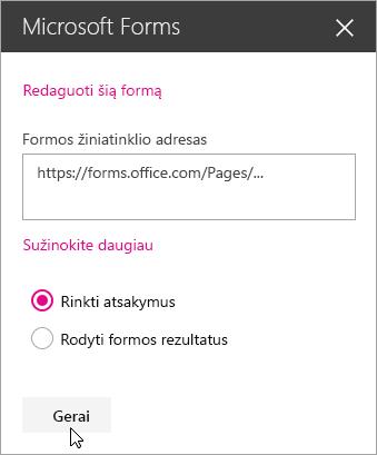"""Sukūrus naują formą, """"Microsoft Forms"""" puslapio dalies srityje rodomas formos žiniatinklio adresas."""