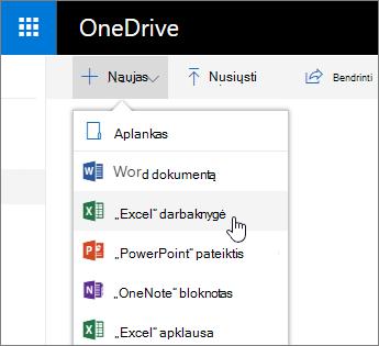 """""""OneDrive"""" meniu naujas, """"Excel"""" darbaknygės komanda"""