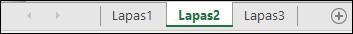 """Darbalapio skirtukus, """"Excel"""" lango apačioje"""