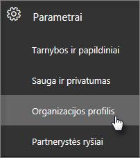 Administravimo centre eikite į Parametrai, tada į Organizacijos profilis.