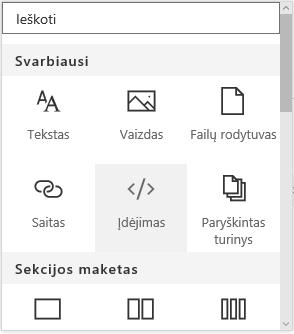 """""""SharePoint"""" meniu Įdėjimo turinys ekrano kopija."""