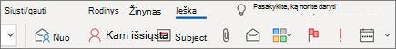 """Ieškos naudojimas programoje """"Outlook"""""""
