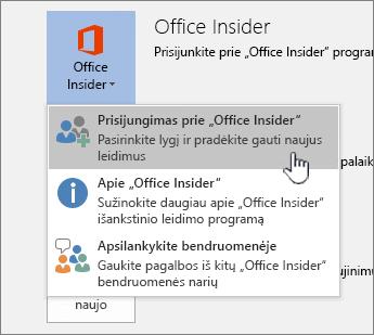 """Prisijungimas prie """"Office Insider"""" mygtuko"""