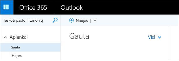 """Paveikslėlis, kaip atrodo juostelė internetinėje """"Outlook""""."""