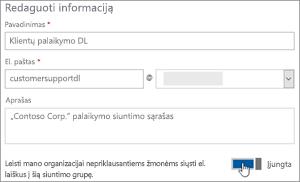 Ekrano: Įjungti perjungiklį leisti išorinius narius, kuriuos norite siųsti į dl
