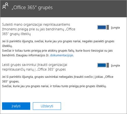 """Suteikti žmonėms, nepriklausantiems mano organizacijai, prieigą prie """"Office 365"""" grupių ir išteklių"""
