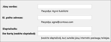 Įveskite savo el. pašto adresą ir slaptažodį