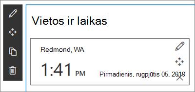 """""""SharePoint"""" svetainių pasaulio laikrodžio puslapio dalį su vietos ir datos/laiko formato rinkiniu"""