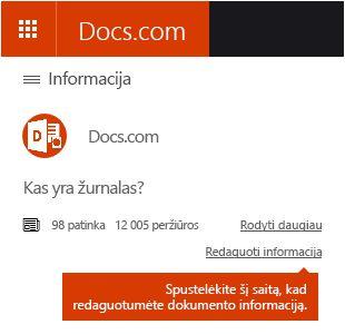 """Išsamios informacijos redagavimo parinktis """"Docs.com"""""""