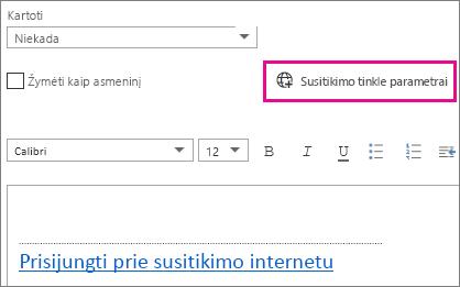 """Susitikimo internetu parametrų mygtukas """"Outlook Web App"""""""
