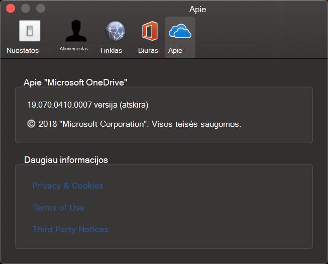 """Apie """"OneDrive"""", skirtos """"Mac"""", vartotojo sąsają"""
