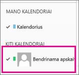 """""""Outlook Web App"""" su pasirinktu bendrinamos pašto dėžutės kalendoriumi"""