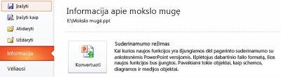 """Pateikties konvertavimas į """"PowerPoint 2010"""""""