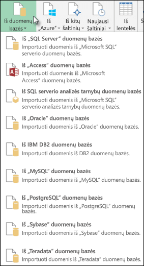 Power Query iš duomenų bazės funkcijos