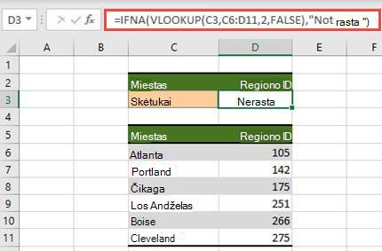 IFNA naudojimo su VLOOKUP, kad #N/A klaidos nebūtų rodomos, vaizdas.