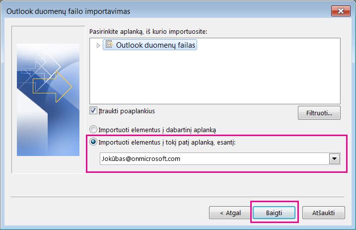 """Pasirinkite Baigti, kad importuotumėte """"Outlook"""" pst failą į """"Office 365"""" pašto dėžutę."""