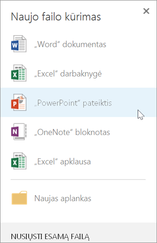"""Kurkite naują """"PowerPoint"""" pateiktį"""