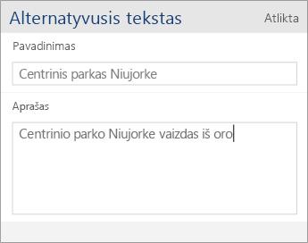 """""""Word Mobile"""" alternatyviojo teksto dialogo lango ekrano nuotrauka su Pavadinimo ir Aprašo laukais."""