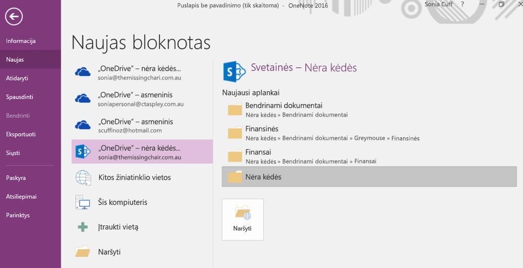 """""""OneNote for Windows 2016"""" naujo bloknoto aplanko pasirinkimo sąsaja"""