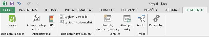 """""""PowerPivot"""" skirtukas juostelėje"""