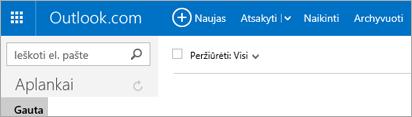 """Kaip atrodo juostelė, jei naudojate """"Outlook.com"""" arba """"Hotmail.com"""""""