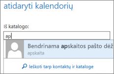"""Outlook Web App"" kalendoriaus atidarymo dialogo langas"