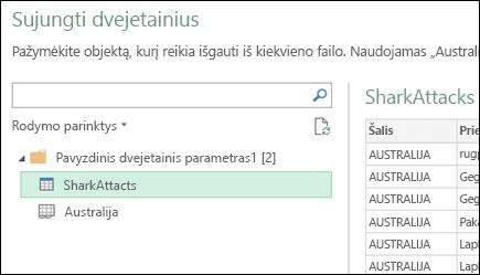 """Sujungti dvejetainius failus dialogo lange rodomi galimi """"Excel"""" darbalapiai pasirinkite tikslinį pirminio sutrauktus duomenis"""
