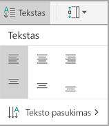 """""""Android"""" lentelės teksto lygiuotė"""