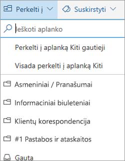 """Aplankas Reikšmingiausi gautieji internetinėje """"Outlook"""""""